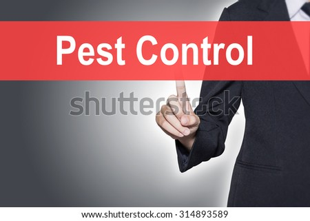 Pest Control Business woman pressing hand word on virtual screen - stock photo