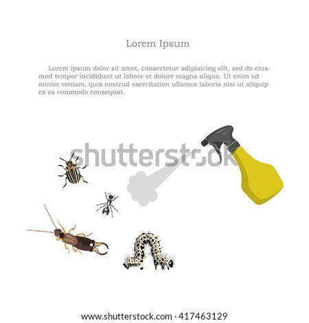 Pest control. Figure of garden pests and sprayer on a white background.  - stock photo