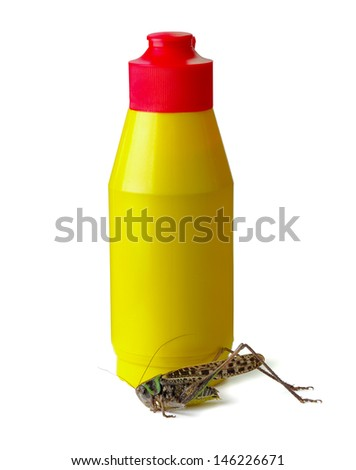 Pesticide sprayer with dead locust on a white background - stock photo