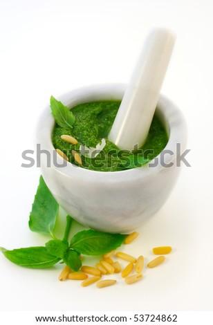 Pesto alla genovese  and ingredients for pesto - stock photo