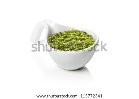 Pesto Genovese in a gravy boat - stock photo