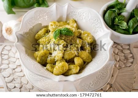 pesto gnocchi - stock photo