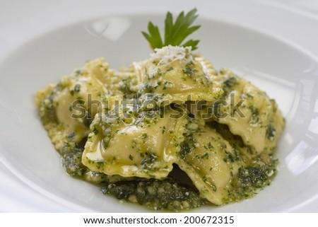 Pesto Raviolis - stock photo