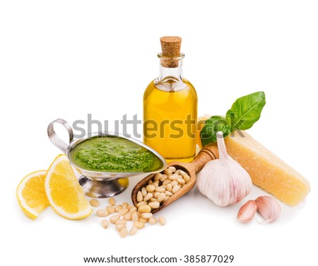 pesto sauce and its ingredients isolated on white - stock photo