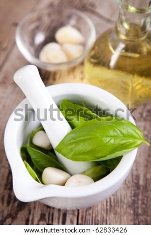 Pesto sauce ingredients - stock photo
