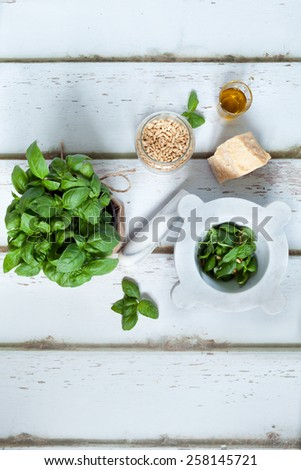 Pesto sauce ingredients: fresh basil, parmesan, pine nuts and olive oil. - stock photo
