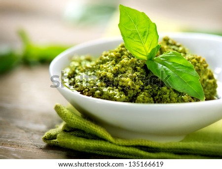 Pesto Sauce. Italian Cuisine - stock photo