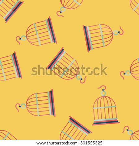 Pet bird cage flat icon, eps10 seamless pattern background - stock photo