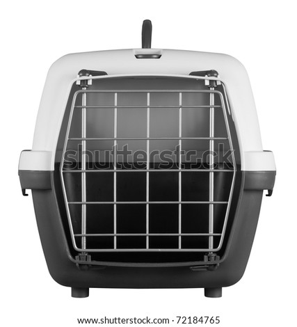 Pet carrier for traveling isolated on white background