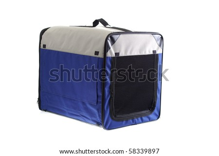 Pet carry case isolated on white - stock photo