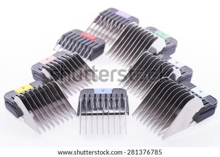 Pet clipper combs. - stock photo