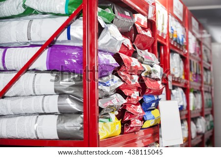 Pet Food Packets At Store - stock photo