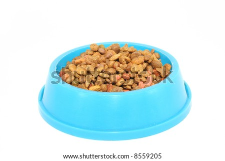 Pet's food (cat, dog, etc.) in the bowl; isolated over whte - stock photo