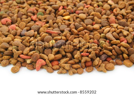 Pet's food (cat, dog, etc.) over the white background - stock photo