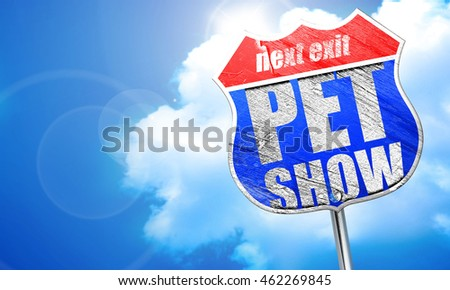 pet show, 3D rendering, blue street sign