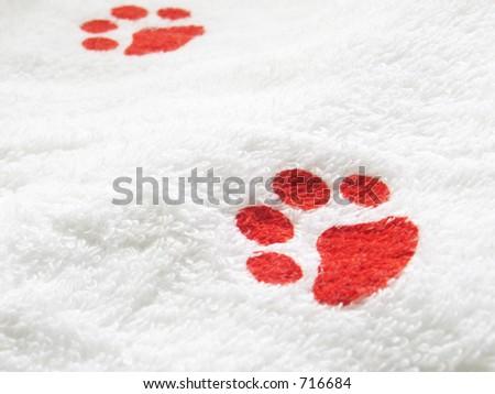 Pet Towel focus on dog print - stock photo