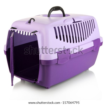 Pet travel plastic cage isolated on white - stock photo