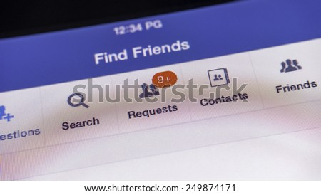 Petaling Jaya, Malaysia - Feb 5, 2015: Find Friends and Friend Requests feature in Facebook. a social utility that connects people with friends and others who work, study and live around them.