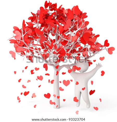 Petals fall from the tree, rose petals in heart shape, a man stands under a flowering tree, 3d render - stock photo