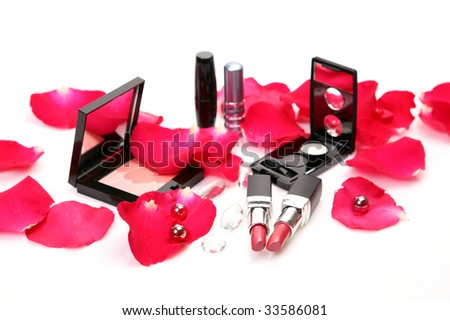 Petals of roses and lipstick