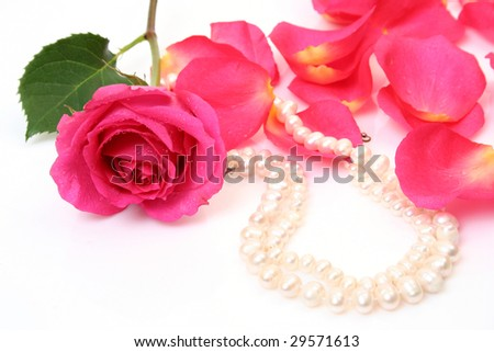 Petals of roses and pearls - stock photo
