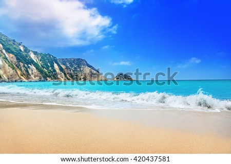 Petani beach, Kefalonia, Greece - stock photo