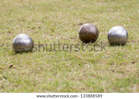 Petanque balls on the ground