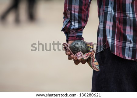 Petanque balls on the ground. Fun and relaxing game - stock photo