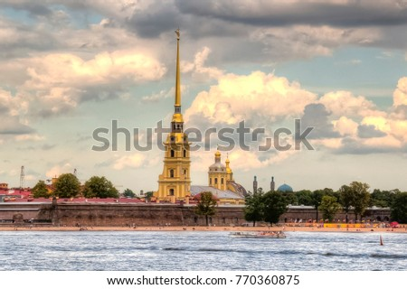 Peter and Paul Fortress across Neva river, Saint Petersburg
