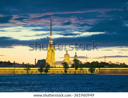 Peter and Paul Fortress and Cathedral. The White Nights in St.-Petersburg, Russia - stock photo