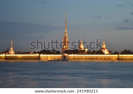 Peter and Paul Fortress at night, , St.Petersburg, Russia.