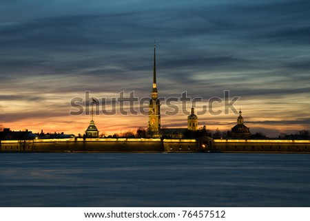Peter and Paul Fortress at sunset in the background. White Night