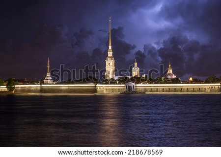 Peter and Paul fortress cityscape, Saint Petersburg, Russia, night view during lightning in sky