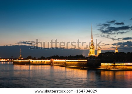 Peter and Paul Fortress in evening, St. Petersburg, Russia