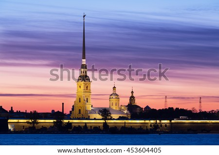 Peter and Paul fortress in sunrise, Saint-Petersburg, Russia