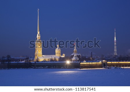 Peter and Paul Fortress. Neva river. Saint-Petersburg. Russia