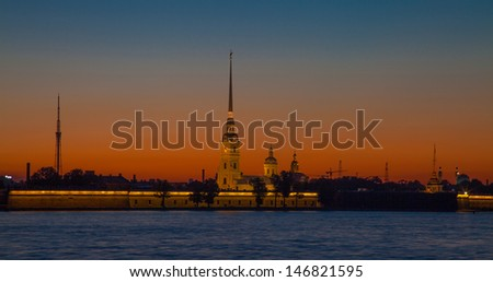 Peter and Paul Fortress Saint Petersburg - The White Nights  - stock photo