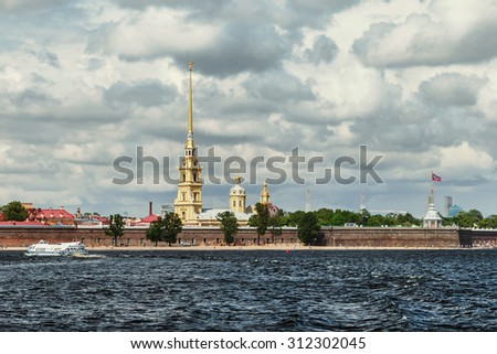 Peter and Paul Fortress, St. Petersburg, Russia. focus on the tallest building of the fortress
