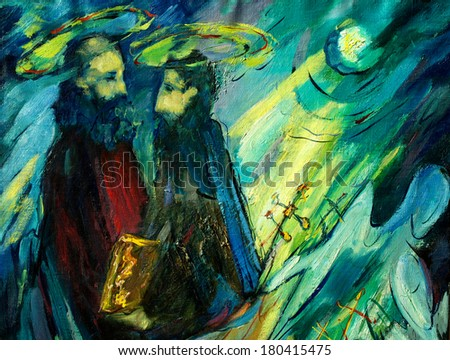 peter and paul , painting by oil on canvas, illustration - stock photo