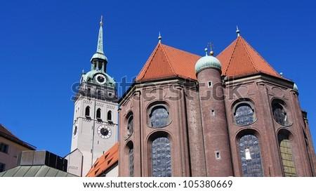 Peter Church Munich (built 1180) - stock photo