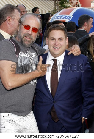 """Peter Stormare and Jonah Hill at the Los Angeles premiere of """"22 Jump Street"""" held at the Regency Village Theatre in Los Angeles, United States, 100614.  - stock photo"""