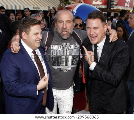 """Peter Stormare, Channing Tatum and Jonah Hill at the Los Angeles premiere of """"22 Jump Street"""" held at the Regency Village Theatre in Los Angeles, United States, 100614.  - stock photo"""