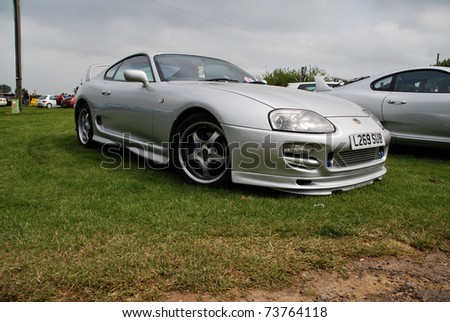 PETERBOROUGH, ENGLAND - May 24: Silver Toyota Supra on May 24, 2008 in Peterborough, England, UK.  Peterborough Show Ground is Host to Annual Modified Nationals Automotive Show