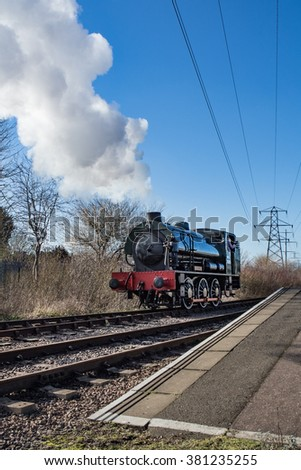 PETERBOROUGH, UK - FEBRUARY 18, 2016: Steam engine on the Nene valley railway