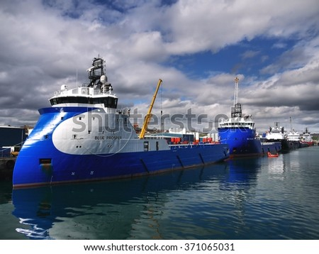 Peterhead, Scotland, 26th of May 2013, Oil industry supply vessel base for offshore oil rig and platform operations. - stock photo