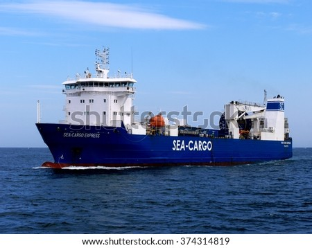 Peterhead, Scotland, 18th of May 2014, Sea-Cargo Express Ro-Ro cargo vessel with high speed sea transport capabilities. - stock photo