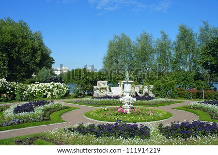 Peterhof, a flower bed at on Czarina's island at Olga's pond