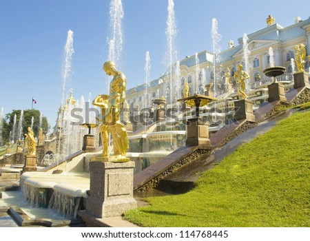 Peterhof, Russia, king's palace and fountain grand cascade, surroundings of St. Petersburg. - stock photo
