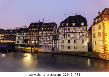 Petite-France architecture at sunrise. Strasbourg, Alsace, France - stock photo