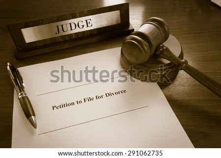 Petition To File For Divorce document                                - stock photo